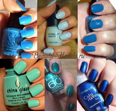 дизайн ногтей в синем цвете: